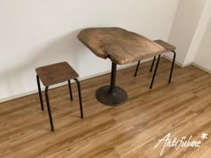 古木テーブルセット1