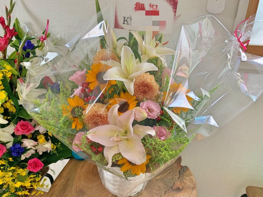 お祝いのお花をいただきました